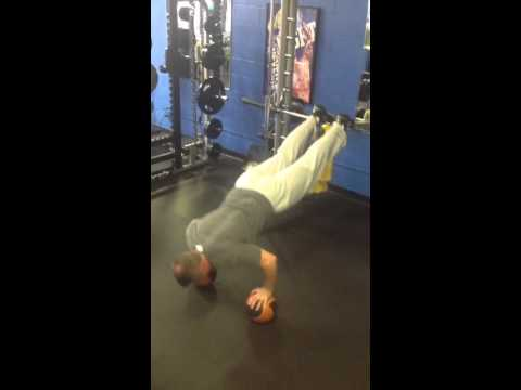 Incline two med ball push ups.