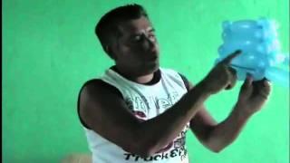 GLOBOS CANASTA HECHA CON TRES GLOBOS...HOW TO MAKE A BASKET WITH THREE BALLOONS