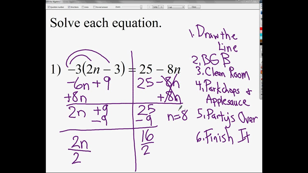 Solving Equations with Variables on Both Sides and with Distributive ...