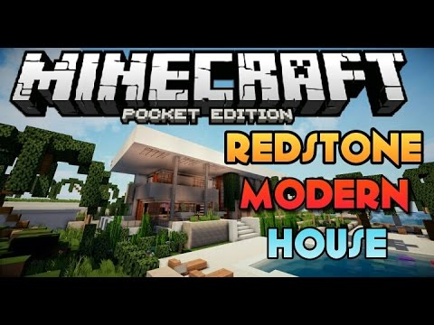 BEST REDSTONE HOUSE FOR MCPE !! - Redstone Modern House Map Review - Minecraft PE 0.14.0