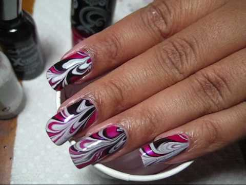 Black, White & Pink Water Marble Nail Art Tutorial - YouTube