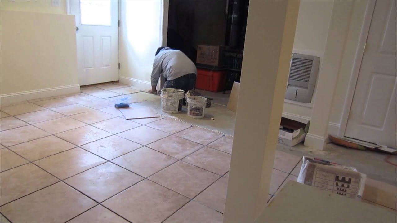 Time lapse of a 16 39 x16 ceramic tile installation on a for Ceramic floor installation