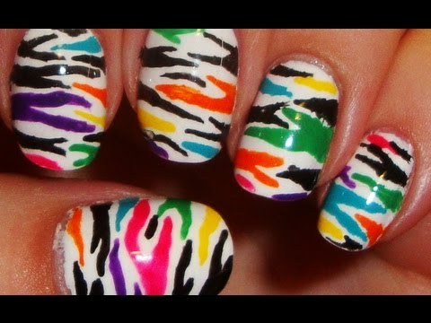 Color Drip Nails Funky Colorful Zebra Nails