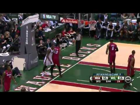 NBA Playoffs 2013: NBA Miami Heat Vs Milwaukee Bucks Highlights April 25, 2013 Game 3