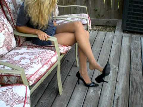 Pantyhosed legs and high heels slipper plays by a milf - 5 2