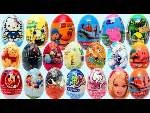 21 Surprise Eggs kinder sorpresa huevo chocolate by unboxingsurpriseegg