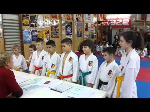 Аттестационный экзамен по каратэ 27.03.16.в спортивном клубе Тигренок