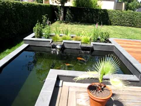 Modern koi pond youtube for Contemporary pond design