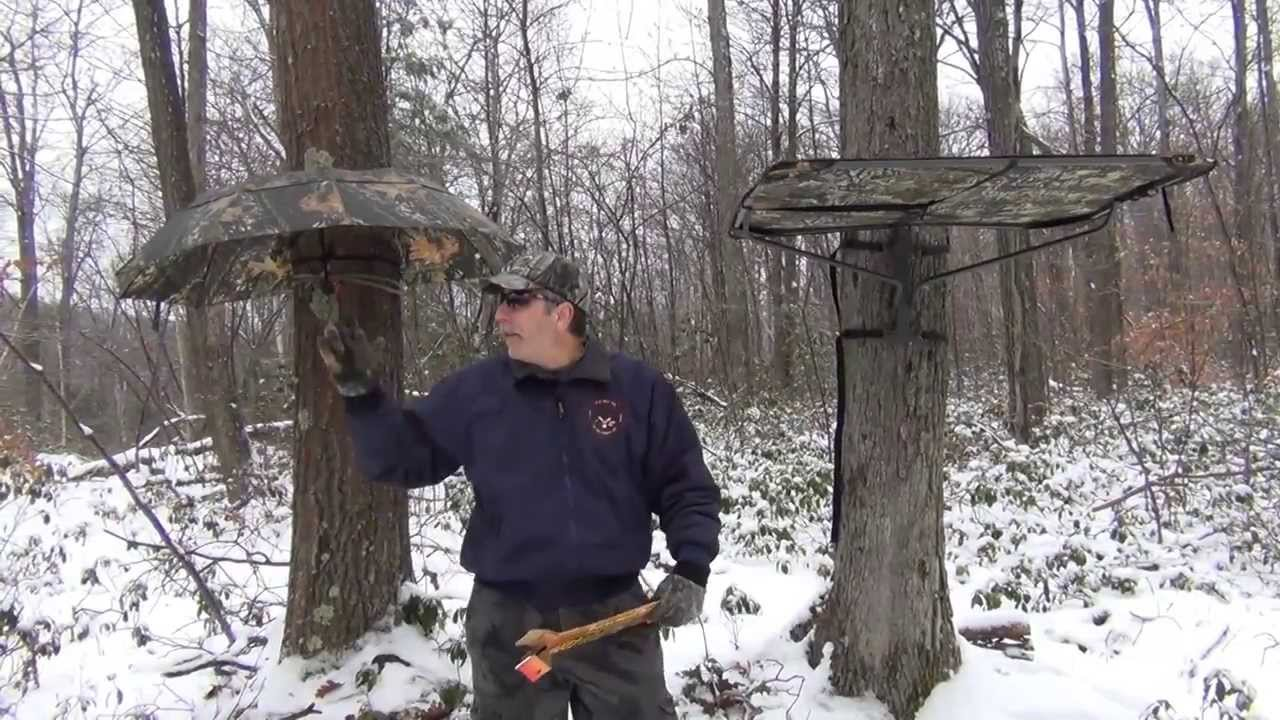 Tree stand rain canopies youtube for Permanent tree stand