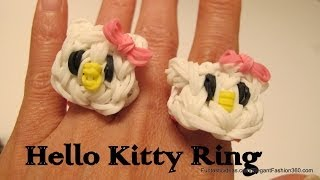 Rainbow Loom Hello Kitty Ring And Face Charm How To