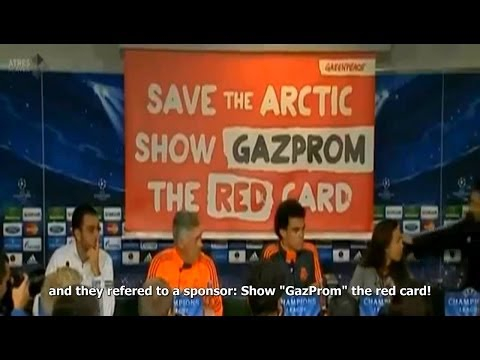 Greenpeace interrupts Real Madrid Press Conference (English Sub)