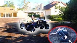 She Flew OFF the Golf Cart!