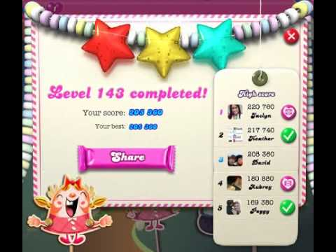 How to beat Candy Crush Saga Level 143 - 3 Stars - No Boosters - 205