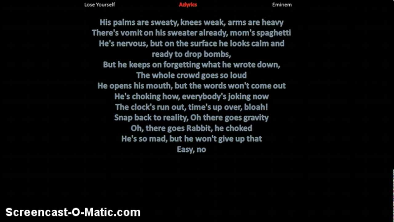 eminem lose yourself lyrics clean - photo #3