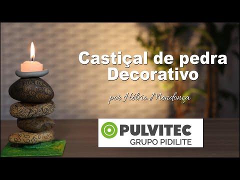 ARTESANATO - POLYEPOX E MULTIFIX: Castiçal de Pedra Decorativo