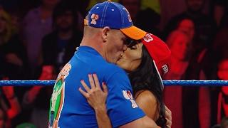 John Cena and Nikki Bella kiss on SmackDown LIVE