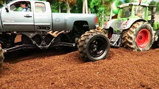 RC MONSTER TRUCK vs RC TRACTORS on the Farm / Rc Toys in action