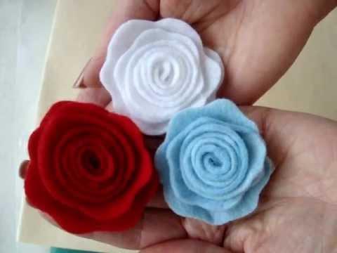 LITTLE FELT ROSE, fabric flower # 6, Fashions by Carlitto.