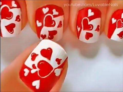 Uñas decoradas con corazones - YouTube