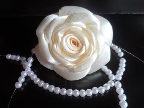 Ободок с розами из атласных лент своими