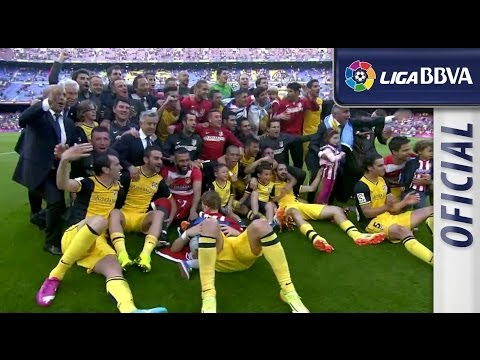 Atlético de Madrid celebrating the victory in Camp Nou