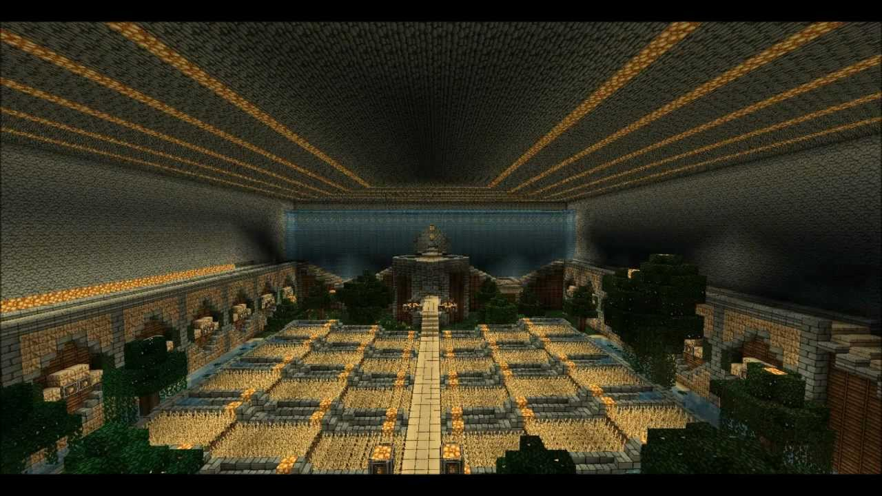 Minecraft tekkit epic underground base speed build youtube for Classic underground house