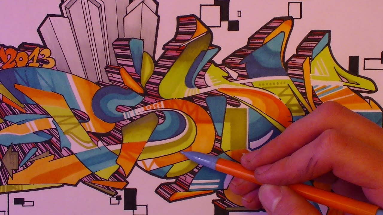 Tutorial graffiti coloriage complexe avanc sur papier - Coloriage graffiti ...