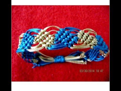 Pulseras macramé  rombos bicolor nudos corredizos bracelets with diamonds