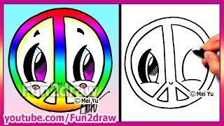Rainbow Peace Sign How To Draw Easy Cartoons Fun2draw
