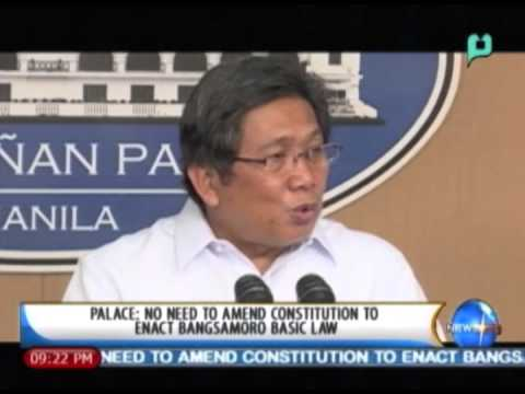 Palace: No need to amend constitution to enact Bangsamoro Basic Law || Feb. 6, '14