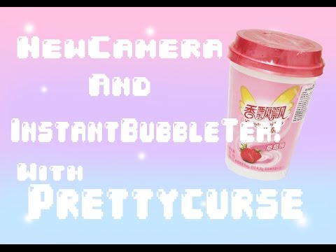 New camera and Review on Strawberry Instant Bubble Tea! ♡ Prettycurse