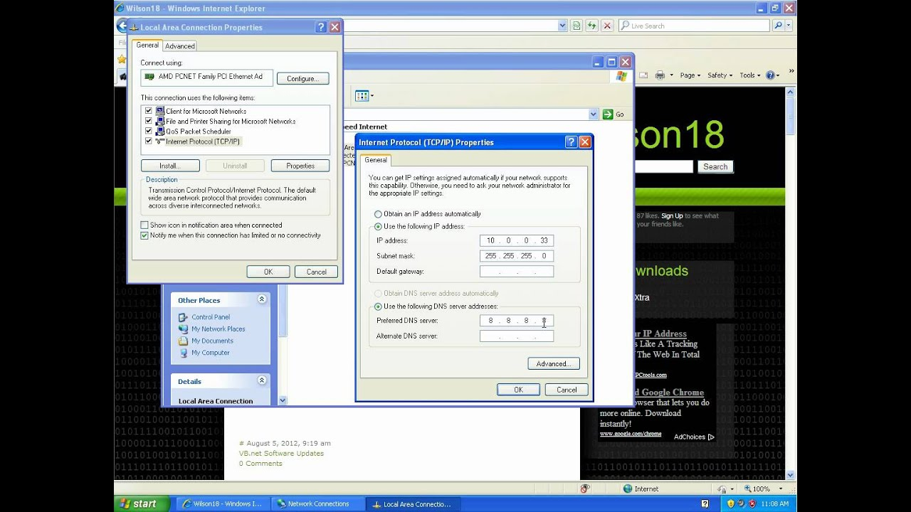 how to change your ip address on windows xp