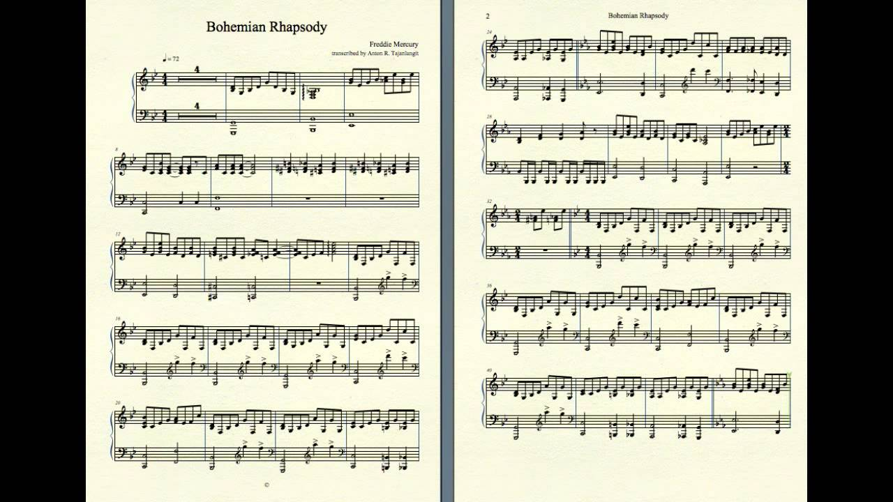Bohemian Rhapsody (piano accompaniment) - YouTube