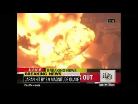 Oil Refinery In Japan On Fire After Earthquake and Tsunami 3/11/2011