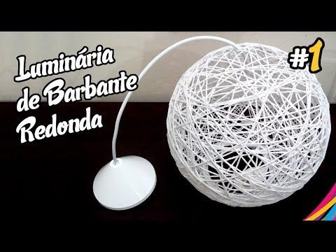 Luminaria de Barbante Redonda / Twine Lampshade Round / Lampara Colgante de Hilo DIY #1
