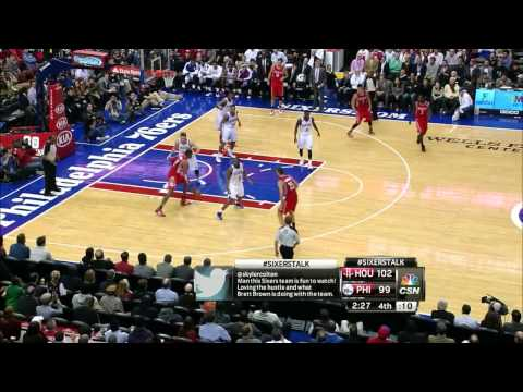 Spencer Hawes rejects Dwight Howard - Rockets @ Sixers - 2013.11.13
