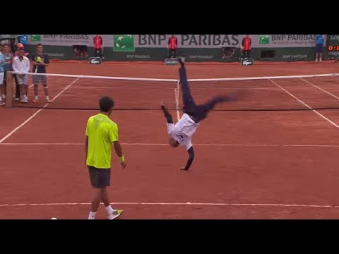 French Open dance off # between Gael Monfils and Laurant Lokoki