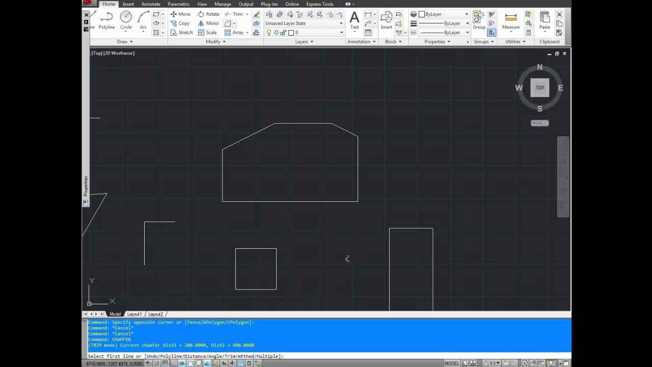autocad tutorial  how to use the chamfer command