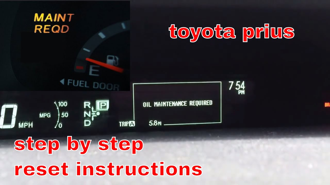 2012 toyota prius oil maintenance required light reset. Black Bedroom Furniture Sets. Home Design Ideas