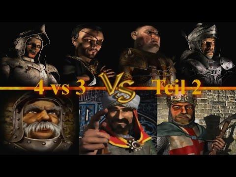 Die 4 Herzöge vs Marschall, Saladin, Richard - Teil 2   Stronghold Crusader KI Kämpfe (German)