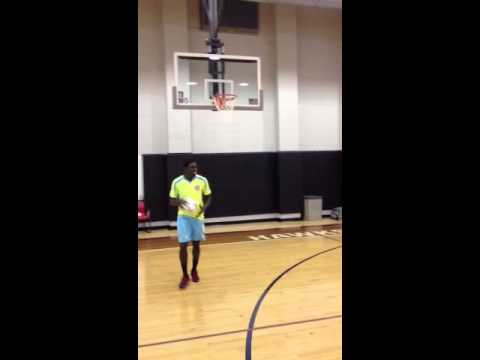 Silverbacks Goalkeeper Eric Ati Dunks at Atlanta Hawks Practice