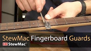 Watch the Trade Secrets Video, StewMac Fingerboard Guards protect your fretboard when filing or polishing frets