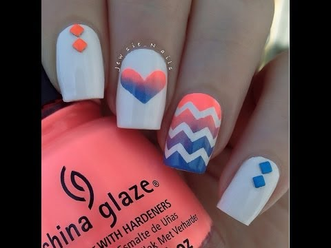 Gradient Heart AND Gradient Chervron Nail Art Tutorial!