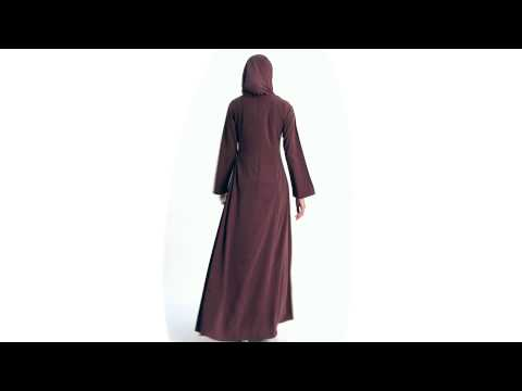Lulu Embroidered Maxi Dress Abaya   Maroon