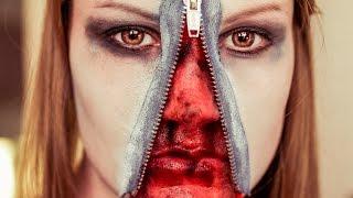 Das Einfache Halloween Makeup Reißverschluss Im Gesicht