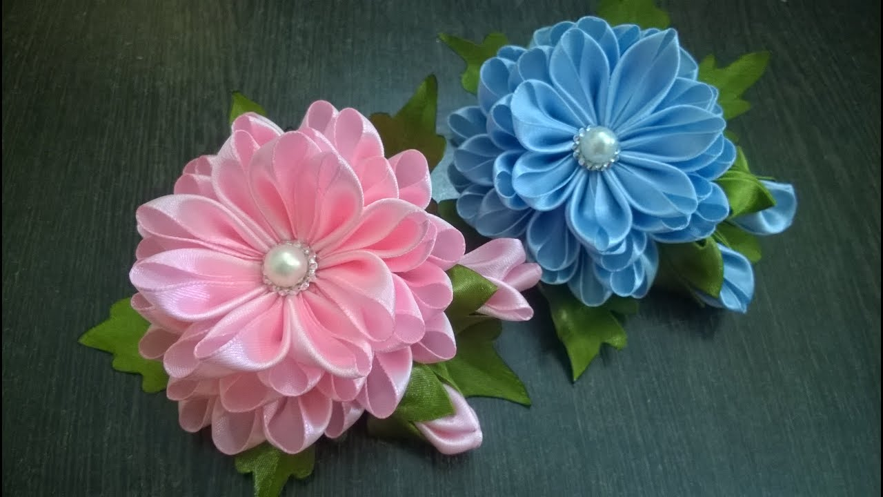 Kanzashi tutorial tutorials and kanzashi flowers on pinterest - D I Y Satin Kanzashi Flower Tutorial Youtube