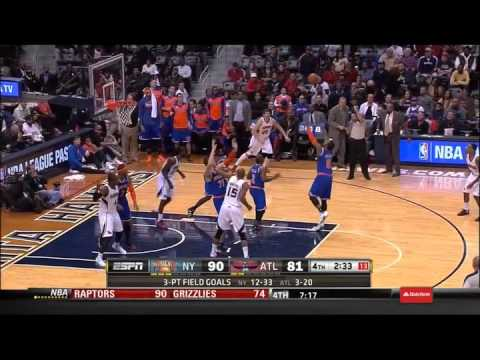 Andrea Bargnani Banks A 3 Pointer New York Knicks vs. Atlanta Hawks 11/13/13