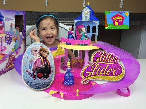 DISNEY PRINCESS MAGICLIP Glitter Glider Dolls Castle Disney Frozen Kinder Surprise Eggs Opening Toys