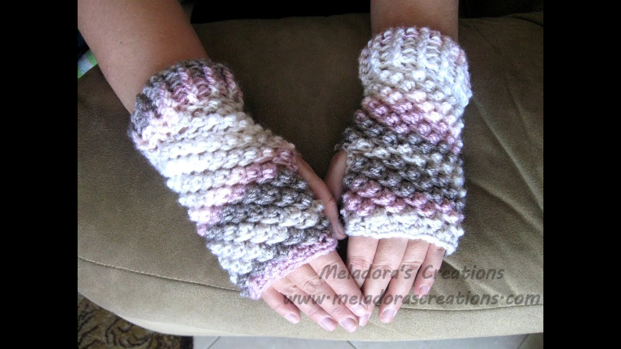 Crochet Fingerless Gloves Tutorials : Raspberry Stitch Finger less Gloves - Crochet Tutorial ...