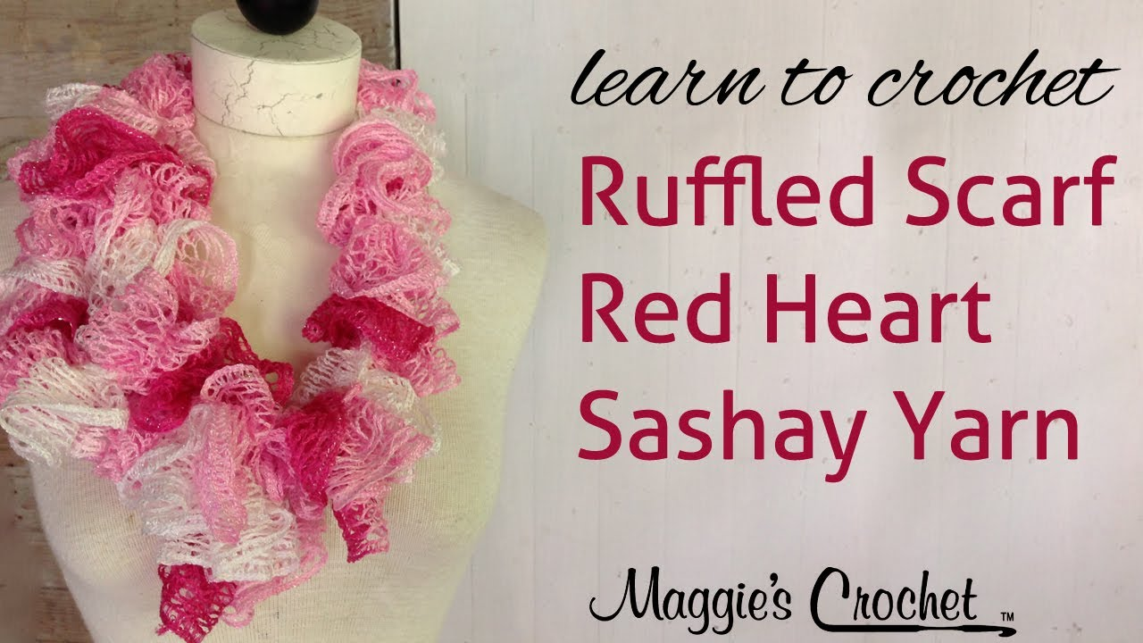 Crochet Scarf Pattern With Sashay Yarn : Crochet Red Heart Boutique Sashay Yarn Ruffle Scarf - YouTube